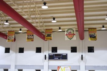 The banner for 2018 champions Bayside Blazers will soon take its rightful place on the rafters of the Save the Seed Energy Center in Duff's Bottom. Photo: VINO
