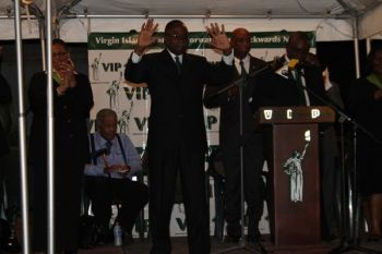 Virgin Islands Party (VIP) Chairman Hon Julian Fraser RA (R3) has been described by Hon Ralph T. O'Neal OBE as a good thinker and a fighter for the 'small man'. Photo: VINO