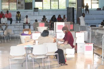 The counting of district votes began shortly after the close of polls on June 8, 2015 but it was some hours after that the territorial counting commenced. This process was not completed until sometime after lunch on June 9, 2015 following a marathon all-night counting process. Photo: VINO/File