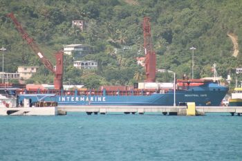 The vessel that brought the three Wartsila generators to the territory. Photo: VINO