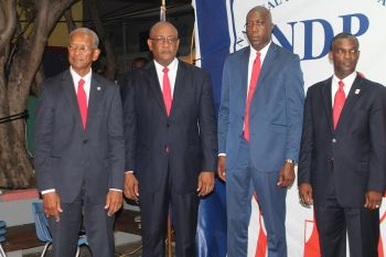 The National Democratic Party (NDP) Territorial At-Large candidates are, from left: Dr The Honourable D. Orlando Smith, Minister for Health and Social Development Honourable Ronnie W. Skelton, Minister for Education and Culture Honourable Myron V. Walwyn and Honourable Archibald C. Christian. Photo: VINO