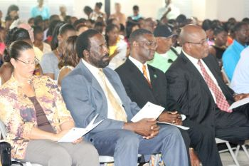 Among those in the audience were, from left to right, Permanent Secretary in the Ministry of Education Dr Marcia Potter, Second District Representative Hon. J. Alvin Christopher, Territorial At-Large Representative Hon. Archibald C. Christian and Minister for Health and Social Development Hon. Ronnie W. Skelton. Photo: VINO