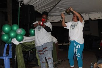 Two Virgin Islands Party supporters making noise for change. Photo: VINO