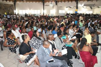 A section of the audience at the Graduation Ceremony of the Bregado Flax Educational Centre on July 4, 2013. Photo: VINO