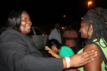 Oleanvine Pickering-Maynard interacts with supporters following last night's, May 18, 2015 meeting. Photo: VINO