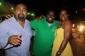 Virgin Islands Party candidate for the Second District Rajah A. Smith (centre) with supporters in Long Look on May 18, 2015. Photo: VINO