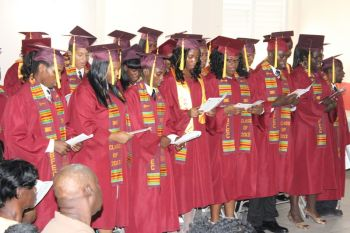 The 26 graduates of the Bregado Flax Educational Centre doing the graduation song. Photo: VINO
