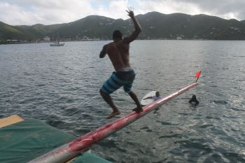 Another attempt at conquering the greasy pole. Photo: VINO