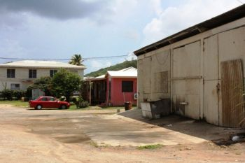 Diesel stains on the ground and the smell of diesel or waste oil is still in the air at the Virgin Gorda Elderly Home. Photo: VINO