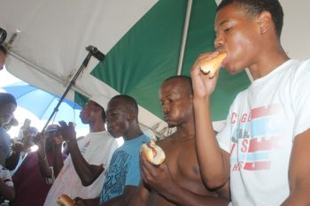 Hot dog eating competition at the Aquatic Sports held today August 5, 2014 at the Queen Elizabeth Park, Road Town. Photo: VINO