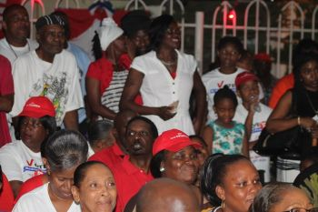 Section of the audience at the NDP campaign meeting held in Long Look on May 21, 2015. Photo: VINO