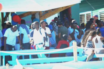 Part of the crowd at Big Bamboo Restaurant and Bar in Loblolly Bay, Anegada. Photo: VINO
