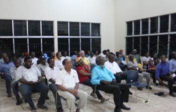 Some of the persons in attendance at the Public Meeting called by Third District Representative Hon Julian Fraser RA on October 20, 2016. Photo; VINO