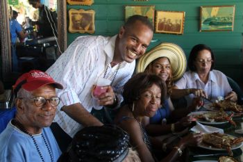 Former Premier Dr D. Orlando Smith, left, spent November 30, 2019 with his family at Anegada Lobster Festival 2019. Photo: VINO