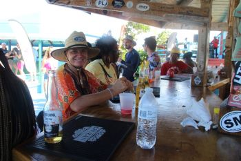 Hanging out at the bar at Anegada Lobster Festival at Big Bamboo Restaurant on November 30, 2019. Photo: VINO
