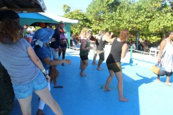 Time for a dance at the Anegada Lobster Festival at Big Bamboo Restaurant. Photo: VINO