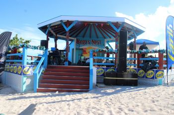 The new stage constructed at Big Bamboo Restaurant for Anegada Lobster Festival 2019. Photo: VINO