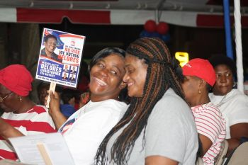 Some of Hon Delores Christopher's supporters at the campaign rally in Huntums Ghut. Photo: VINO