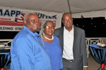 Governor Mapp with Hon Alvera Maduro-Caines (middle) and Lt Governor Potter. Photo: Mapp-Potter 2018