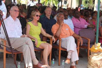 Premier and Minister of Finance Dr the Honourable D. Orlando Smith (third from left) and His Excellency the Governor William Boyd McCleary (left) at the ceremony for VI-USVI Friendship Day. Photo: VINO