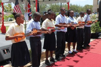 Students of the Claudia O. Creque Educational Centre in Anegada and Bregado Flax Educational Centre in Virgin Gorda doing a musical selection of 'Stand by Me'. Photo: VINO