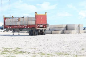 More materials on the ground at Nanny Cay for the installation of three additional docks at the outer marina. Photo: VINO