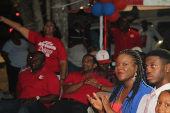 A section of the audience at the campaign rally of Hon Delores Christopher in Huntums Ghut on May 23, 2015. Photo: VINO