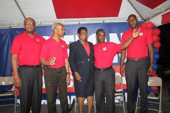 Hon Delores Christopher with the National Democratic Party (NDP) Territorial At Large team last evening, May 23, 2015. Photo: VINO