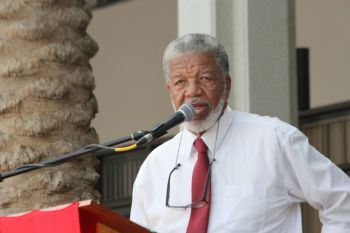 Douglas Wheatley giving the acceptance speech on behalf of his late father and Chief Minister Willard Wheatley. Photo: VINO