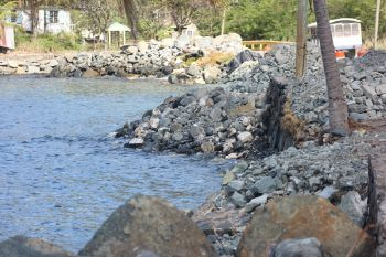 The total cost for the revetment project is just over $561,000 and government is funding a portion of the project, injecting some $230,000, with the bulk of the funding coming from the European Union through the Organisation of Eastern Caribbean States (OECS). Photo: VINO