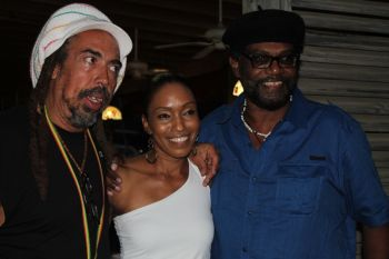 Television personality Ms Tamara Archibald-Gill was among those that mingled with the Third World group upon their arrival at Village Cay on July 6, 2013. Photo: VINO