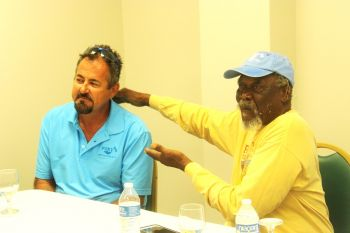 On Monday October 14, 2019 the public had a shock of their lives when at a press conference called by then Director of Operations of Foxy's Tamarind Bar, David Dietrich, left, and Philliciano O. Callwood MBE aka 'Foxy', right, they were let in on a major family feud that resulted from Dietrich assuming a position of authority over one half of the family business and trying to force the other half to sell out so he could assume a position of authority over the entire business. Photo: VINO