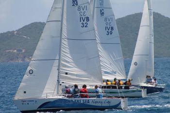 Three of the teams at race during the first day of the Premier's Cup Youth Sailing Regatta. Photo: VINO