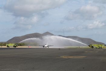 British Virgins Islands Airports Authority (BVIAA) giving Hummingbird Air a watery welcome today, June 5, 2015. Photo: VINO