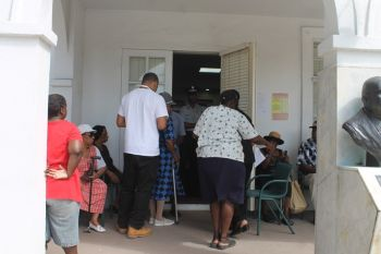 Advance Polling underway at the House of Assembly chambers in Road Town, today June 5, 2015. Photo: VINO