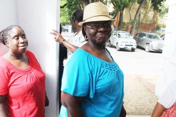 Helen Penn was the first to vote at the House of Assembly chambers in Road Town today, June 5, 2015. Photo: VINO