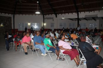 Some of the persons at the Catholic Community Centre in the Valley, Virgin Gorda at the public meeting called by Ninth District Representative Dr The Hon Hubert O'Neal on November 9, 2016. Photo: VINO