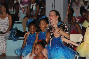 Director of the BVI Dance School, Mrs Sandy Lyons is flanked by a few of the performers at BVI DanceFest 2017. Photo: VINO