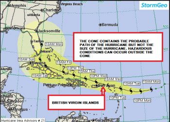 The latest projection of Hurricane Irma released by the Department of Disaster Management (DDM). Photo: DDM