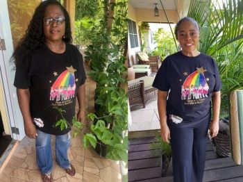 VI legislators Hons Alvera Maduro-Caines and Shareen D. Flax-Charles sporting clothing from the 'Notbasic by Ms Kody' line. Photo: Provided