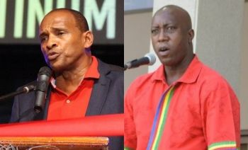 Minister for Communications and Works Hon Mark H. Vanterpool (R4), left, and Minister for Education and Culture Hon Myron V. Walwyn (right) have also been leading the call for self-determination. Photo: VINO/File
