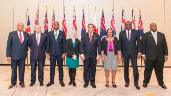 From left, Anguilla Premier Victor F. Banks, Gibraltar Minister for Commerce Albert J. Isola, Bermuda Premier E. David Burt, Falkland Islands MLA Teslyn S. Barkman, Cayman Islands Premier Alden M. McLaughlin, Turks and Caicos Premier Sharlene Cartwright Robinson, Montserrat Premier Donaldson Romeo and Virgin Islands Premier Andrew A. Fahie (R1), who attended the June 26 Pre-Joint Ministerial Council meeting and June 27, 2019 International Trade Summit. Photo: Taneos Ramsay