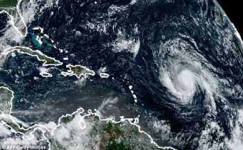 Hurricane watches have been posted for Antigua and Barbuda, Anguilla, Monserrat, St Kitts and Nevis, St Martin, Guadeloupe and the [British] Virgin Islands. The hurricane is pictured from above on Sunday, September 3, 2017. Photo: AFP/Getty Images