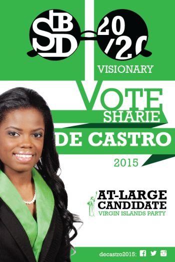The former school teacher and Miss BVI Sharie B. de Castro is the youngest person and one of six women on the Virgin Islands Party slate for the June 8, 2015 general elections. Photo: VINO