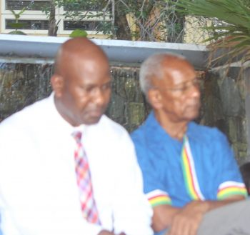 Dr the Honourable D. Orlando Smith (AL), Premier and Minister of Finance (right) and Reverend Dr Terrence D. Griffith (left), Pastor of the First African Baptist Church and President of the Black Clergy of Philadelphia and Vicinity, stated that the Chinese are taking over and Virgin Islanders should protect their lands. Photo: VINO