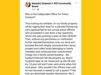 Distraught mother Natasha Chalwell in a social media post on Friday, October 9, 2020, further alleged that the incident occurred although no adult was present. Photo: Facebook