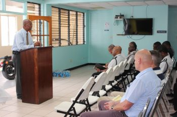 Premier Dr The Hon D. Orlando Smith addressing officers and staff of the RVIPF on August 25, 2016. Photo: GIS