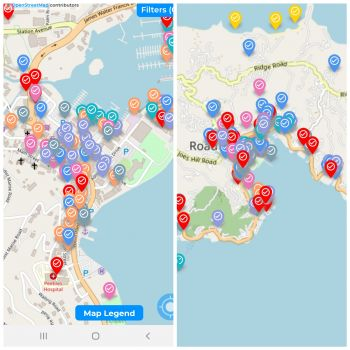Map of Wickham's Cay 1, Tortola, indicating places of interest for tourists and residents alike on the BVI Now app. Photo: VINO