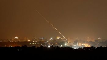 The Hamas rockets were pictured as streaks of light in photographs taken in the Israeli town of Sderot. Photo: REUTERS
