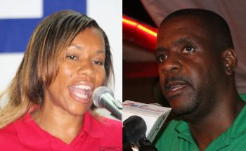 Both Shaina M. Smith (left) and Hon Andrew A. Fahie (right) vying for the First District for the NDP and VIP respectively have turn down Stoutt's debate challenge. Photo: VINO